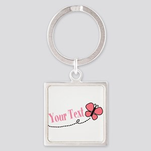 Personalizable Pink Butterfly Keychains