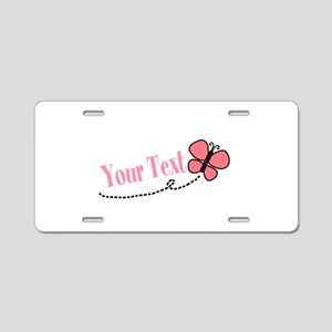 Personalizable Pink Butterfly Aluminum License Pla