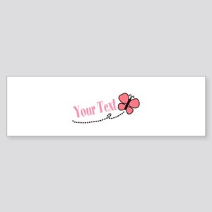 Personalizable Pink Butterfly Bumper Sticker
