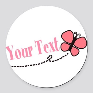 Personalizable Pink Butterfly Round Car Magnet