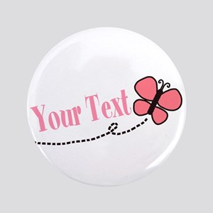 Personalizable Pink Butterfly Button