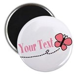 Personalizable Pink Butterfly Magnets