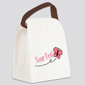 Personalizable Pink Butterfly Canvas Lunch Bag