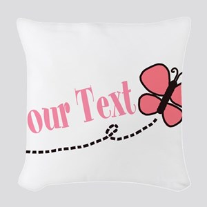 Personalizable Pink Butterfly Woven Throw Pillow