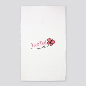 Personalizable Pink Butterfly Area Rug