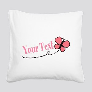 Personalizable Pink Butterfly Square Canvas Pillow