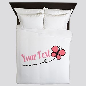 Personalizable Pink Butterfly Queen Duvet