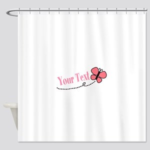 Personalizable Pink Butterfly Shower Curtain