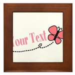 Personalizable Pink Butterfly Framed Tile