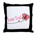 Personalizable Pink Butterfly Throw Pillow