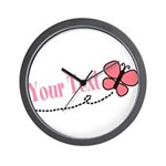 Personalizable Pink Butterfly Wall Clock