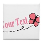 Personalizable Pink Butterfly Tile Coaster