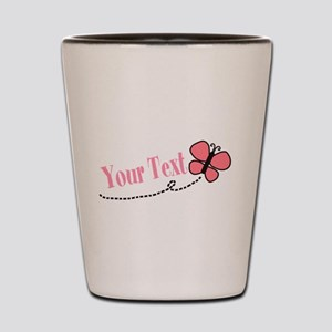 Personalizable Pink Butterfly Shot Glass