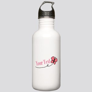 Personalizable Pink Butterfly Water Bottle