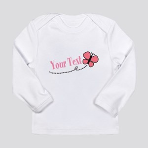 Personalizable Pink Butterfly Long Sleeve T-Shirt