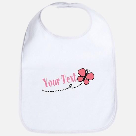 Personalizable Pink Butterfly Baby Bib