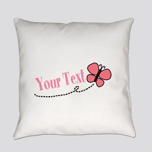 Personalizable Pink Butterfly Everyday Pillow