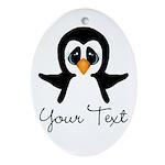 Personalizable Penguin Oval Ornament