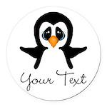 Personalizable Penguin Round Car Magnet