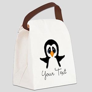 Personalizable Penguin Canvas Lunch Bag