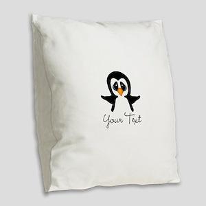 Personalizable Penguin Burlap Throw Pillow