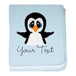 Personalizable Penguin baby blanket