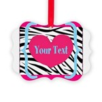 Personalizable Pink Zebra Ornament