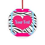 Personalizable Pink Zebra Round Ornament