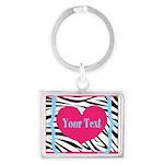 Personalizable Pink Zebra Keychains