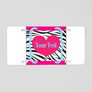Personalizable Pink Zebra Aluminum License Plate