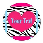 Personalizable Pink Zebra Round Car Magnet