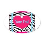 Personalizable Pink Zebra Oval Car Magnet