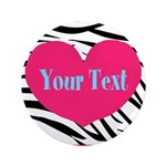Personalizable Pink Zebra Button