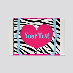 Personalizable Pink Zebra Magnets