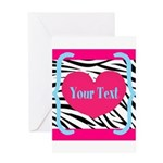 Personalizable Pink Zebra Greeting Cards