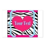 Personalizable Pink Zebra Postcards (Package of 8)