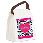 Personalizable Pink Zebra Canvas Lunch Bag