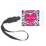 Personalizable Pink Zebra Luggage Tag