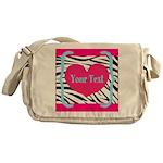 Personalizable Pink Zebra Messenger Bag