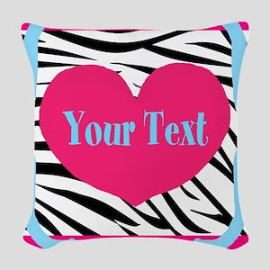 Personalizable Pink Zebra Woven Throw Pillow