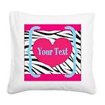 Personalizable Pink Zebra Square Canvas Pillow