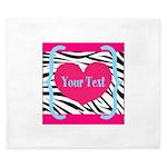 Personalizable Pink Zebra King Duvet