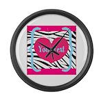 Personalizable Pink Zebra Large Wall Clock