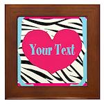 Personalizable Pink Zebra Framed Tile