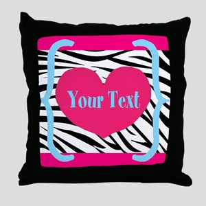 Personalizable Pink Zebra Throw Pillow