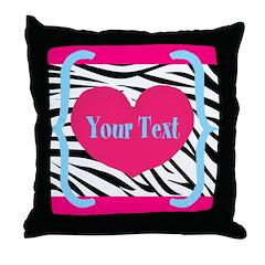 Personalizable Pink Zebra Throw Pillow