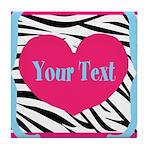 Personalizable Pink Zebra Tile Coaster