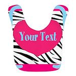 Personalizable Pink Zebra Polyester Baby Bib