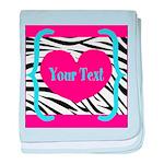 Personalizable Pink Zebra baby blanket
