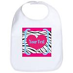 Personalizable Pink Zebra Baby Bib